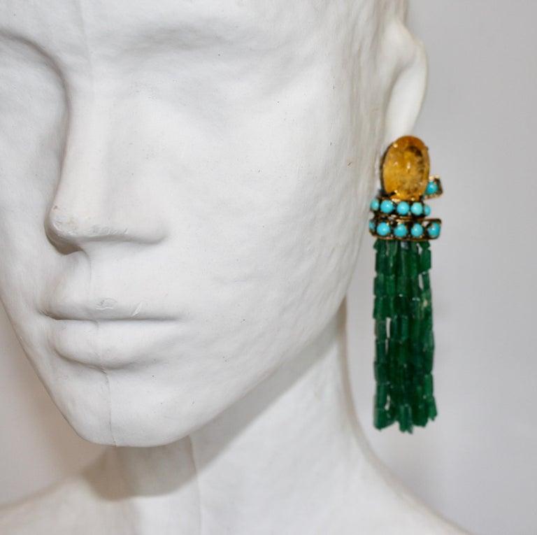 Women's Iradj Moini Lemon Quartz, Turquoise, and Aventurine Tassel Clip Earrings For Sale