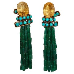 Iradj Moini Lemon Quartz, Turquoise, and Aventurine Tassel Clip Earrings
