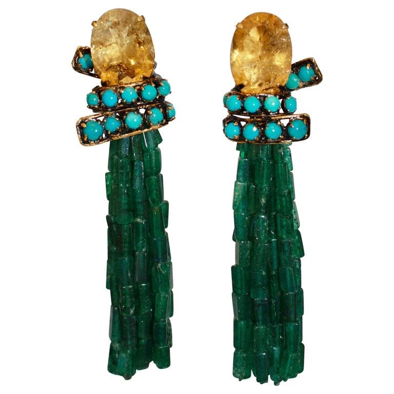 Iradj Moini Lemon Quartz, Turquoise, and Aventurine Tassel Clip Earrings For Sale