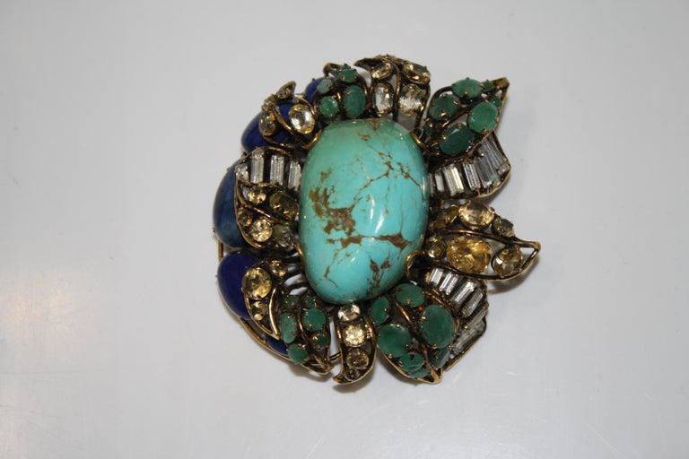 Art Deco Iradj Moini Multi Strand Bracelet with Brooch Clasp For Sale