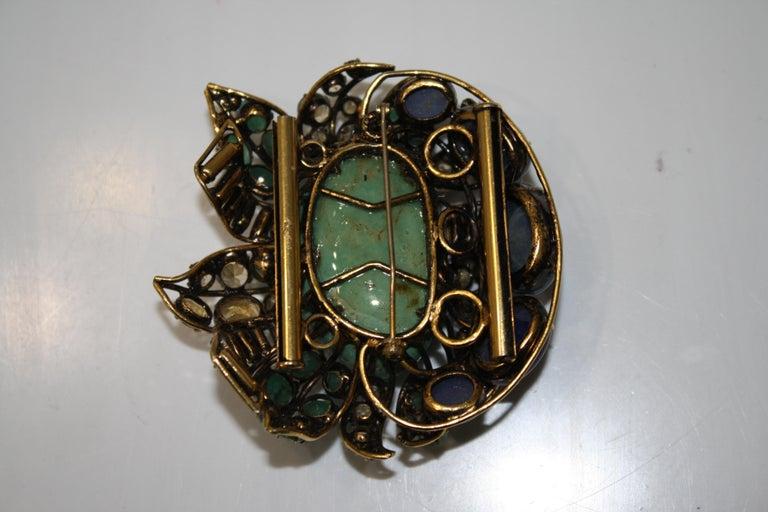 Cabochon Iradj Moini Multi Strand Bracelet with Brooch Clasp For Sale