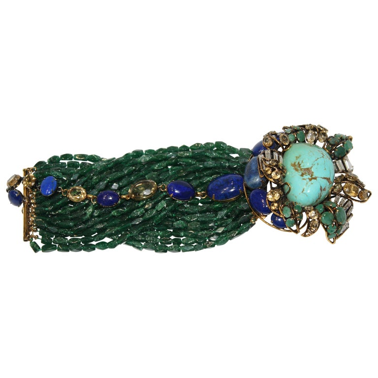 Iradj Moini Multi Strand Bracelet with Brooch Clasp For Sale
