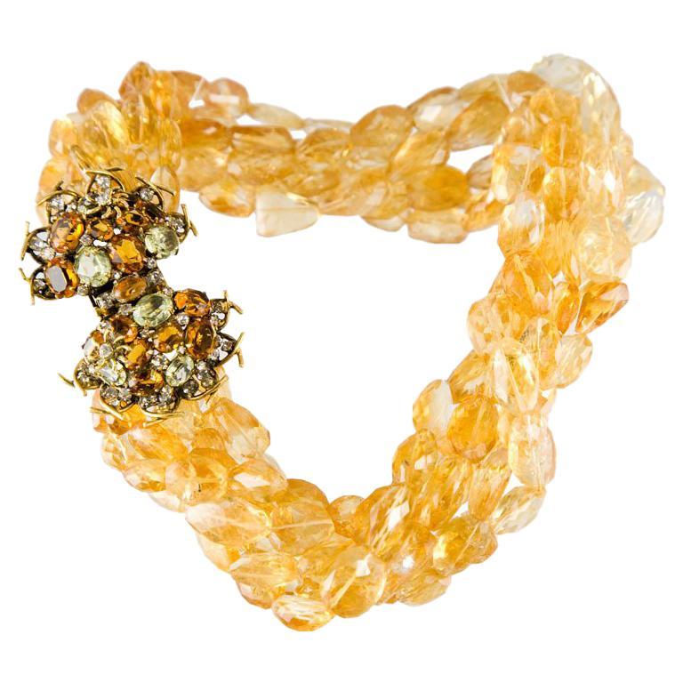 Iradj Moini Multi Strand Citrine Necklace For Sale