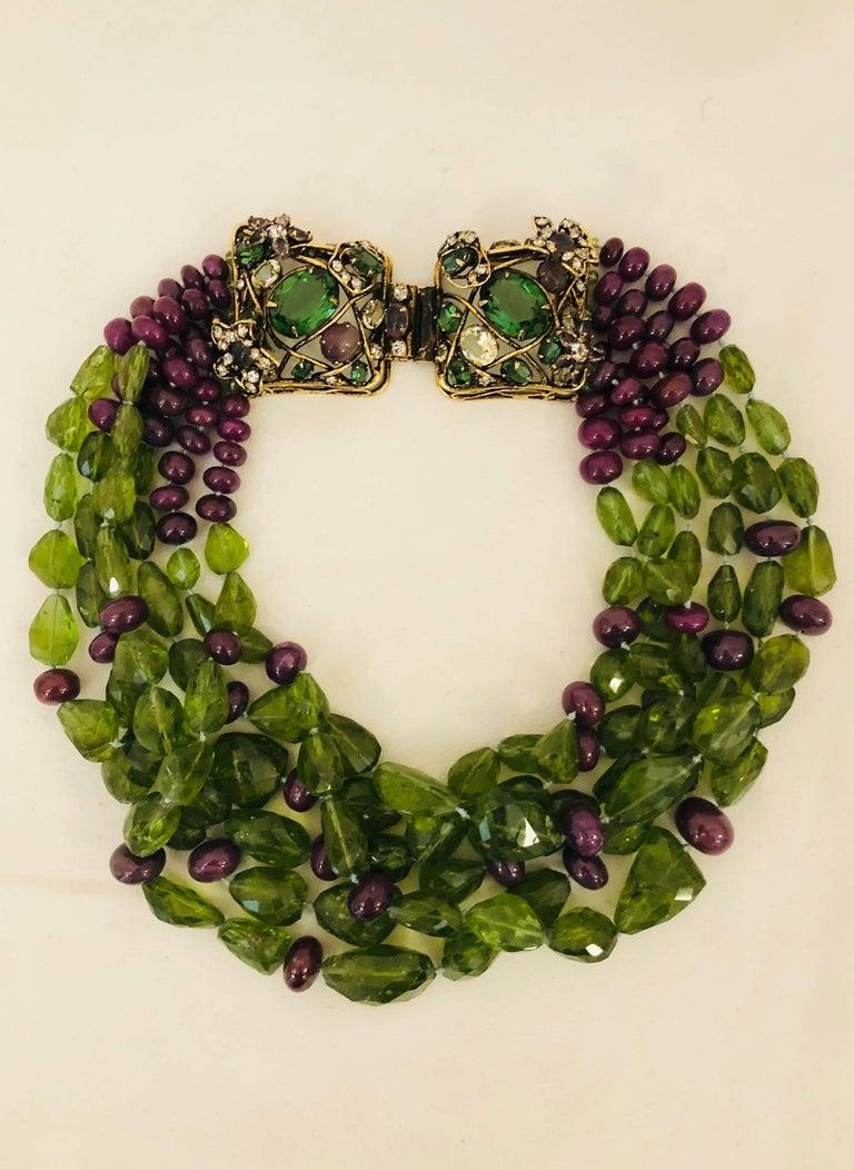 Iradj Moini Peridot Amethyst And Crystals Necklace At 1stdibs