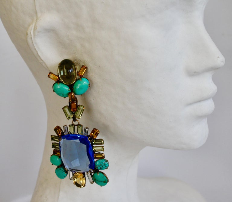 Beautiful statement clip earrings in sapphire, citrine, and turquoise from Iradj Moini.