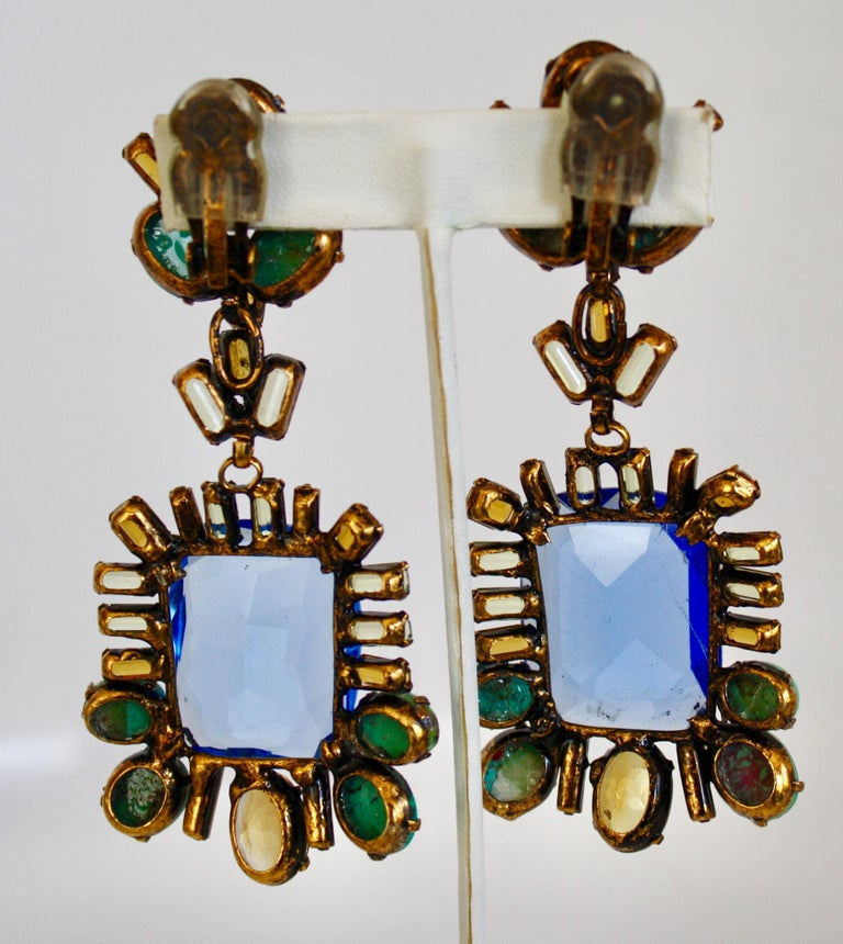 Iradj Moini Saphire, Citrine, and Turquoise Clip Earrings In New Condition For Sale In Virginia Beach, VA