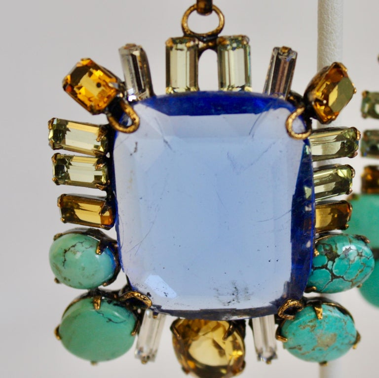 Women's Iradj Moini Saphire, Citrine, and Turquoise Clip Earrings For Sale