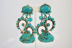 Iradj Moini Turquoise Statement Clip Earrings