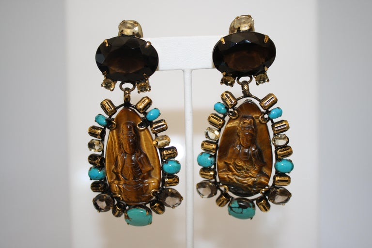 Iradj Moini Turquoise, Tigers Eye, and Quartz Buddha Clip Earrings     In Excellent Condition For Sale In Virginia Beach, VA