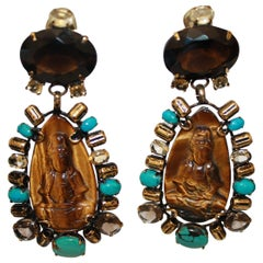 Iradj Moini Turquoise, Tigers Eye, and Quartz Buddha Clip Earrings