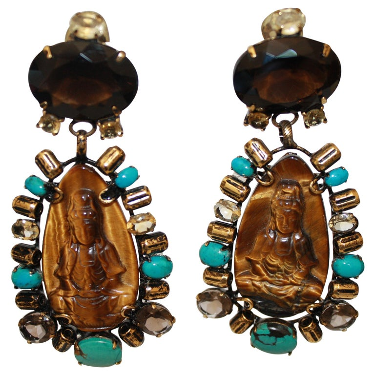 Iradj Moini Turquoise, Tigers Eye, and Quartz Buddha Clip Earrings     For Sale