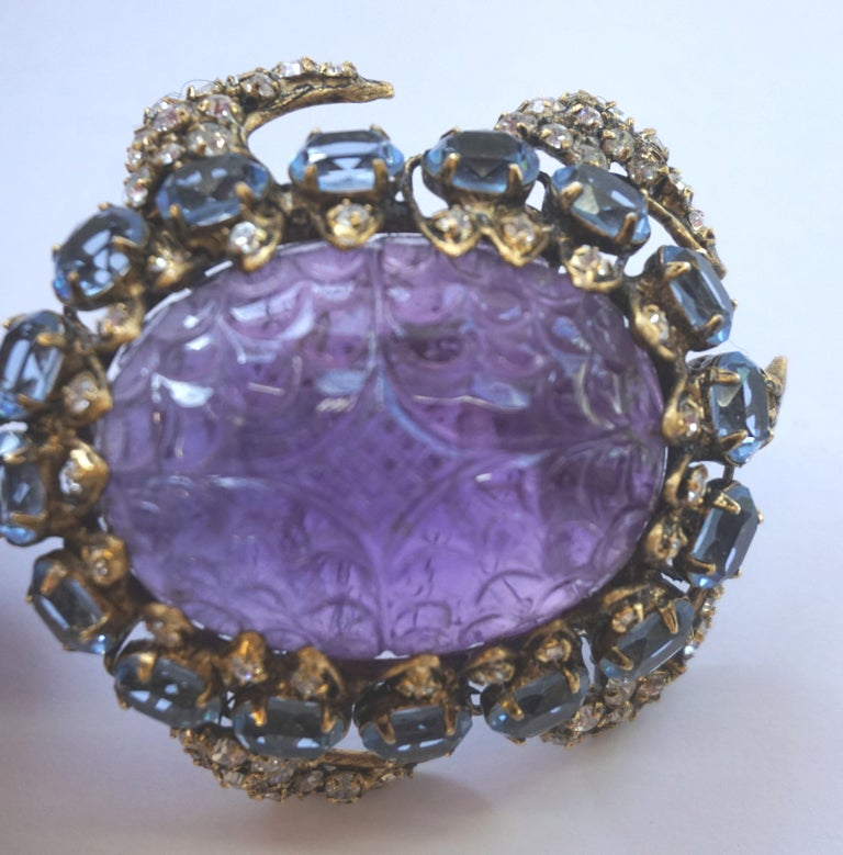 North American Iradj Moini Turtle Pin Amethyst, Blue Topaz, Rubies and Crystals For Sale