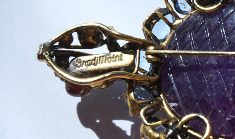 Hand-Carved Iradj Moini Turtle Pin Amethyst, Blue Topaz, Rubies and Crystals For Sale