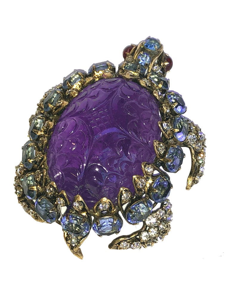 Iradj Moini Turtle Pin Amethyst, Blue Topaz, Rubies and Crystals In Excellent Condition For Sale In Soquel, CA