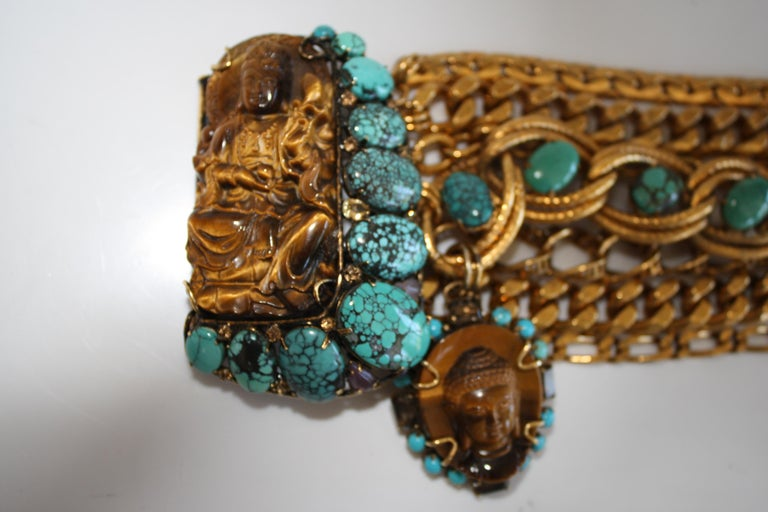 Women's Iradj Moini Vintage Buddha Bracelet with Removable Brooch For Sale