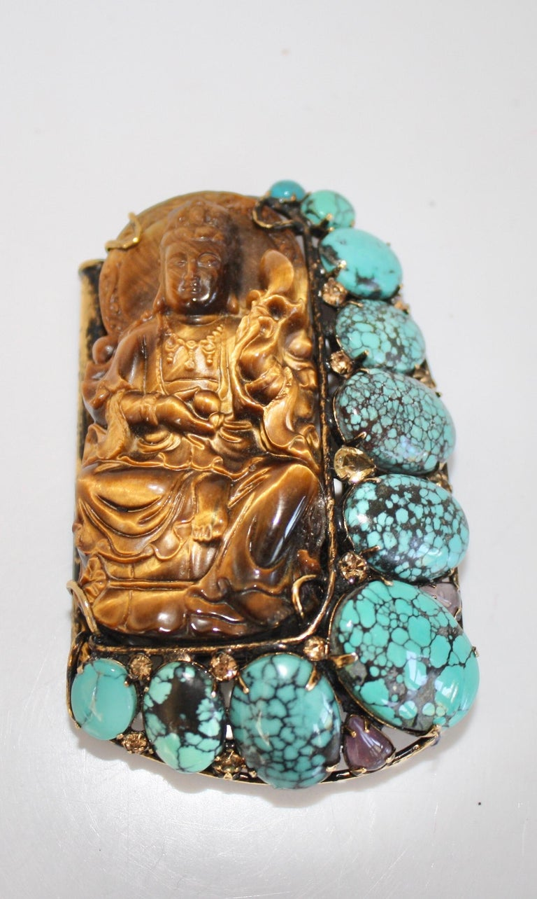 Iradj Moini Vintage Buddha Bracelet with Removable Brooch For Sale 2