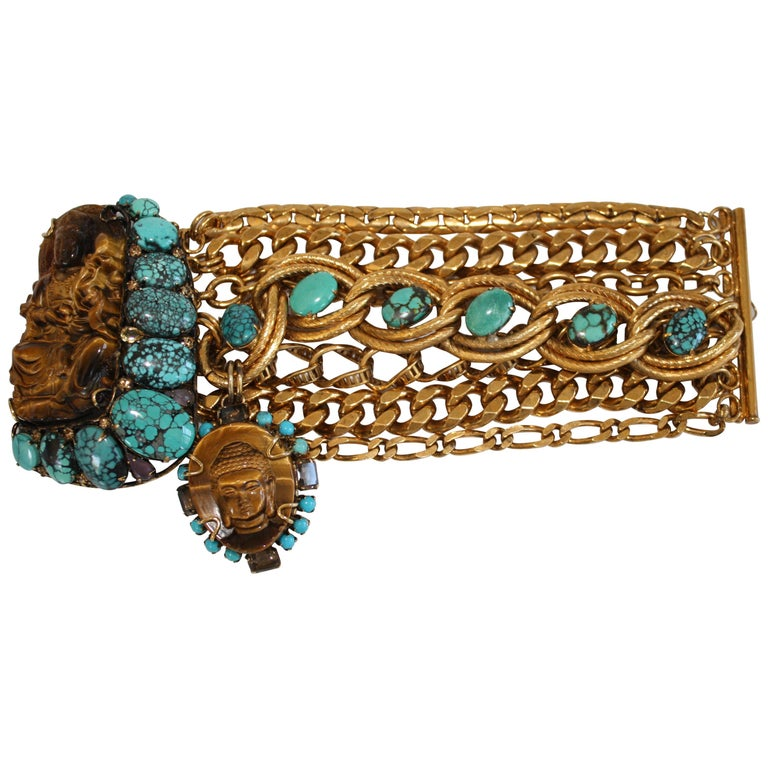 Iradj Moini Vintage Buddha Bracelet with Removable Brooch For Sale