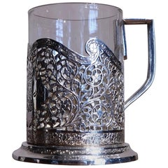 Iranian Silver and Glass Coffee Cup, Head of a Ruler, Qajar, 19th Century