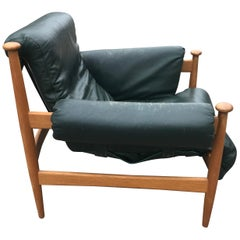 IRE Möbler Eric Merthen `Admiral` Midcentury Green Leather Lounge Chair, 1960s