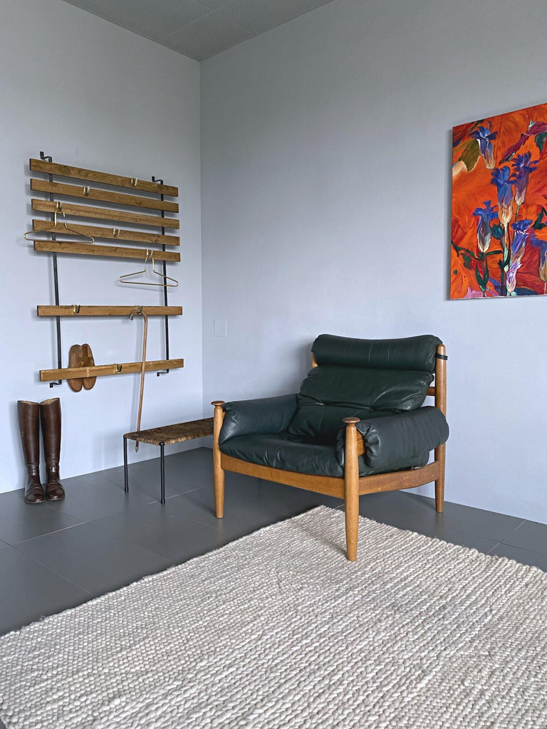 IRE Möbler Eric Merthen Midcentury Green Leather Lounge Chair, 1960s, Sweden For Sale 2