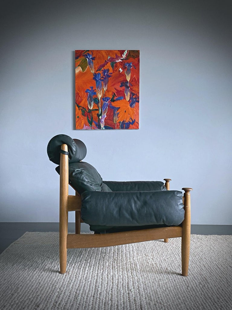 Mid-Century Modern IRE Möbler Eric Merthen Midcentury Green Leather Lounge Chair, 1960s, Sweden For Sale