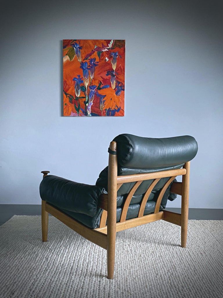 Swedish IRE Möbler Eric Merthen Midcentury Green Leather Lounge Chair, 1960s, Sweden For Sale