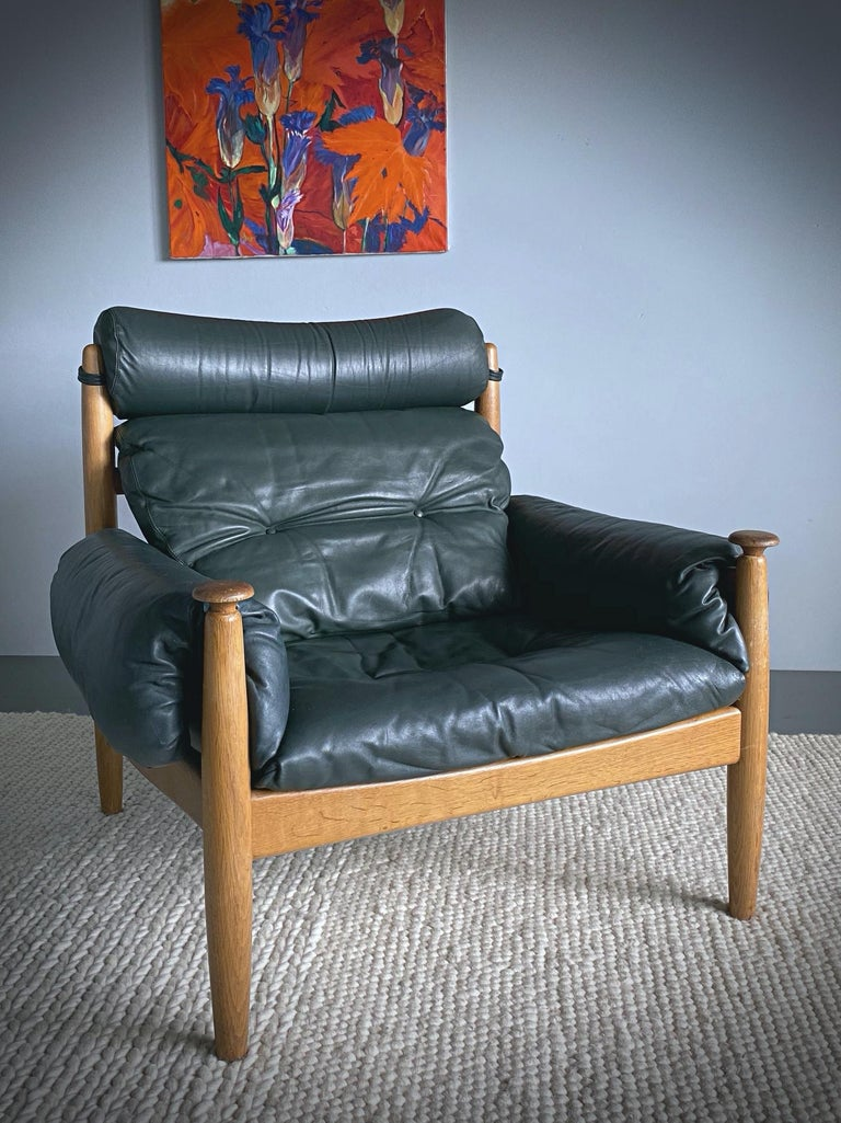 Stained IRE Möbler Eric Merthen Midcentury Green Leather Lounge Chair, 1960s, Sweden For Sale