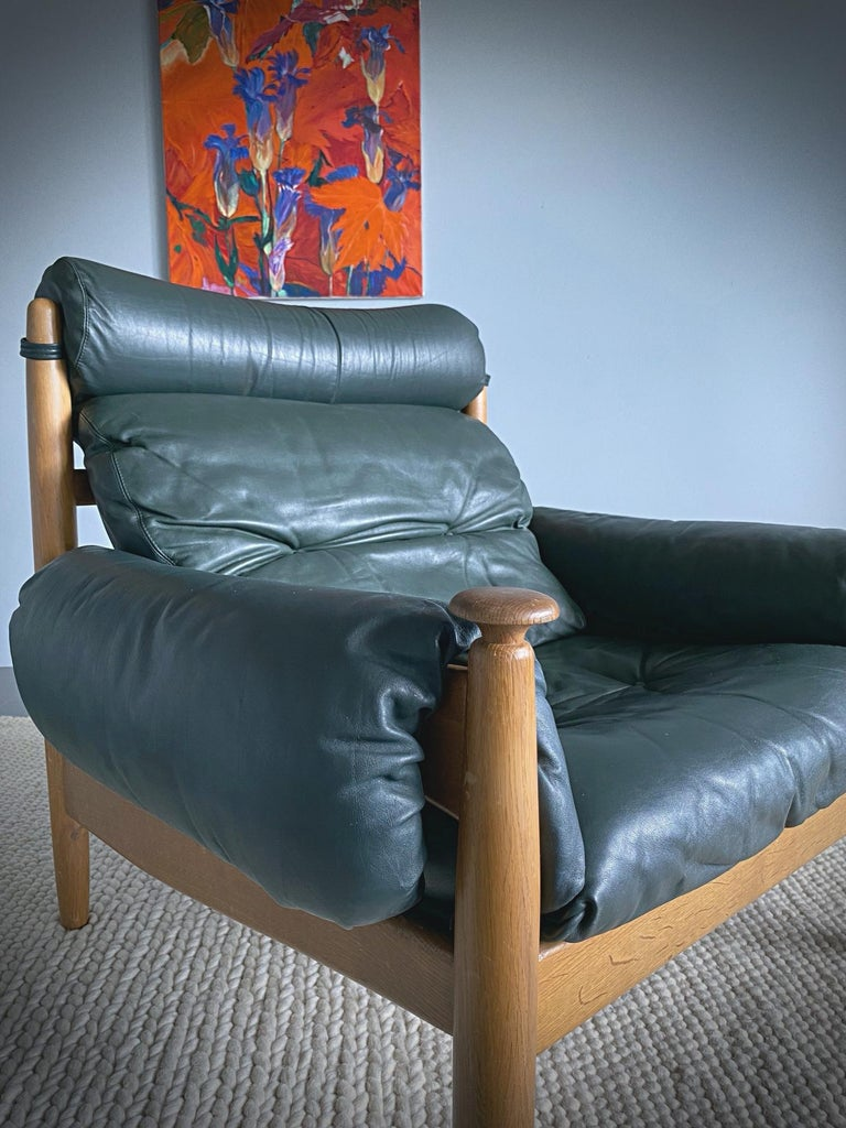 20th Century IRE Möbler Eric Merthen Midcentury Green Leather Lounge Chair, 1960s, Sweden For Sale