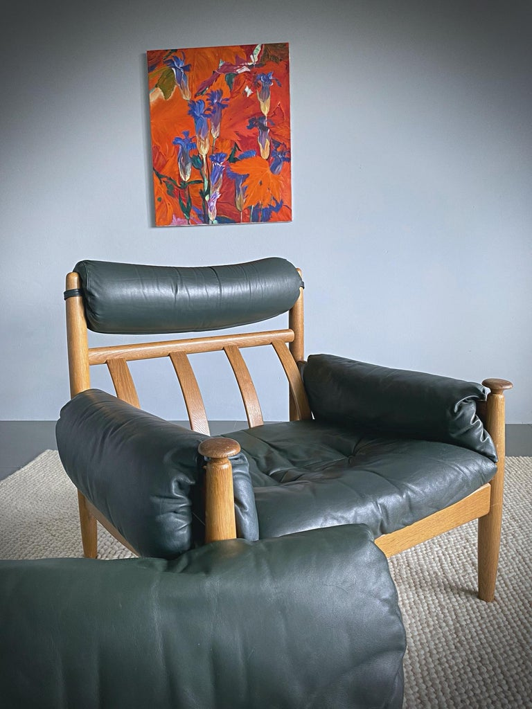 IRE Möbler Eric Merthen Midcentury Green Leather Lounge Chair, 1960s, Sweden For Sale 1