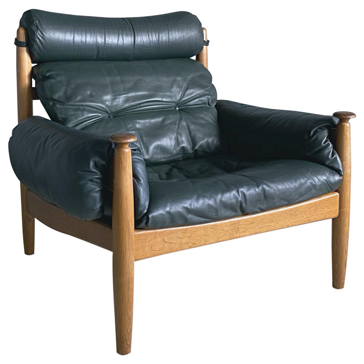 IRE Möbler Eric Merthen Midcentury Green Leather Lounge Chair, 1960s, Sweden