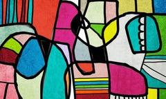 Abstract Vivid BOHO Painting Mixed Medium  on Canvas