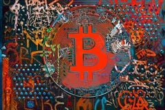 """Bitcoin Blue Red Graffiti Abstract Canvas, Cryptocurrency Bitcoin H48""""XW72"""""""