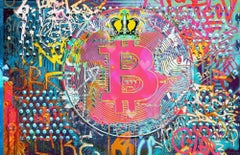 """Bitcoin Graffiti Abstract Canvas Art, Cryptocurrency Bitcoin Painting H45""""XW70"""""""