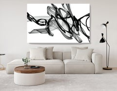 "Black and White Minimalist New Media vs Painting 46""H X 80""W At night"