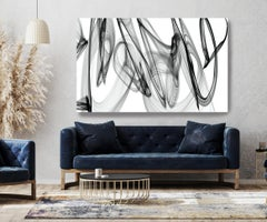 "Black and White Minimalist New Media vs Painting 46""H X 80""W A Powerful Force"