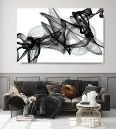 "Black and White Modern Minimalist New Media vs Painting 40""H X 80""W Dance"