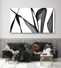 "Black and White Modern Minimalist New Media vs Painting 40""H X 80""W Modern"