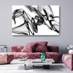 "Black and White Modern Minimalist New Media vs Painting 40""H X 80""W Movement"