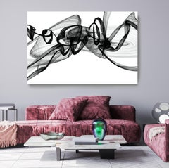 "Black and White Modern Minimalist New Media vs Painting 40""H X 80""W Vision"