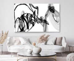 "Black White Minimalist New Media vs Painting 46""H X 80""W Melodious Songs"