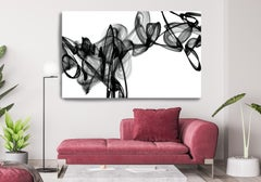 "Black White Minimalist New Media vs Painting 40""H X 80""W The Lyre"