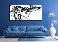 "Black White Modern Minimalist New Media vs Painting 46""H X 80""W Night in Saint"