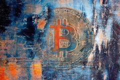 """BTC, Bitcoin Abstract Canvas Art, Cryptocurrency Bitcoin Painting H48""""XW70"""""""