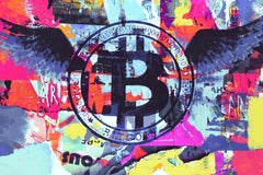 """Cryptocurrency Bitcoin Graffiti Abstract Painting on Canvas H48""""XW70"""""""