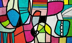 """Mid Century Full of Colors Mixed Media Heavy Textured Painting 38x54"""""""
