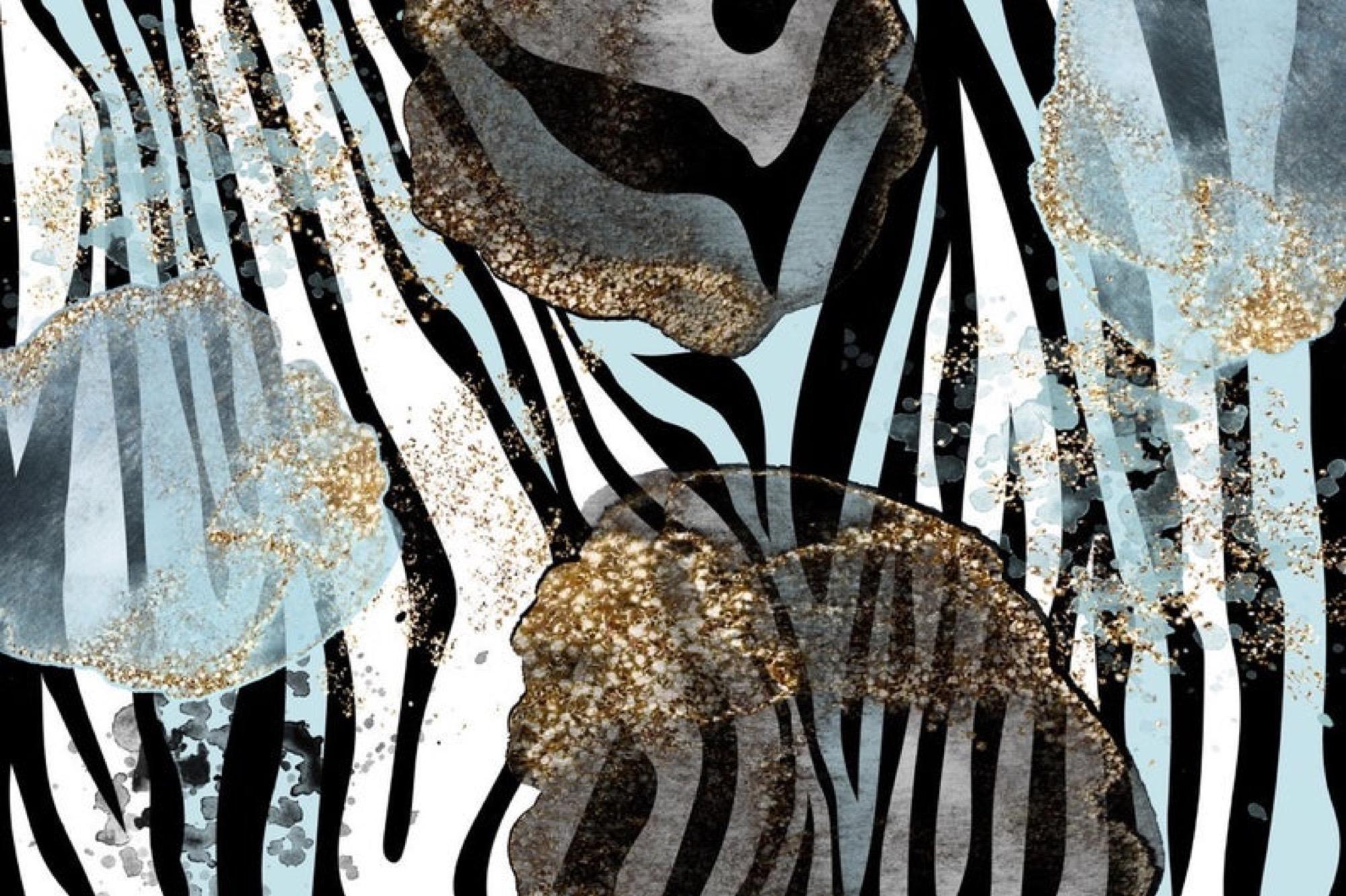 """Zebra Blue Gold Leaf Glamour Abstract Art Mixed Media 60 x 45"""""""
