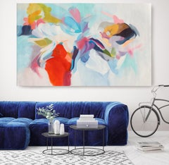 "Abstract Red Blue Green Original Acrylic Painting 42H X 68""W, Invitation of Luck"