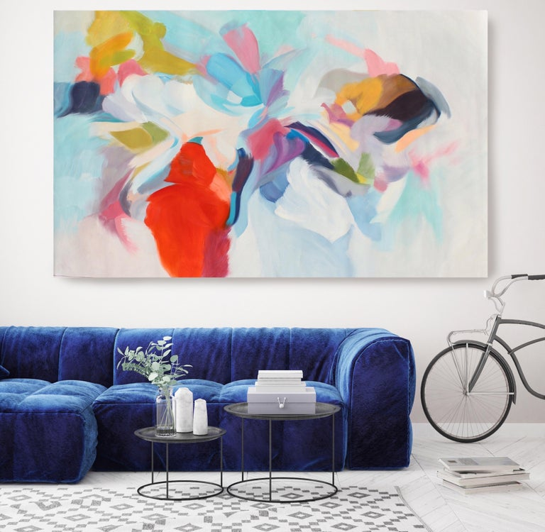 "Irena Orlov Interior Painting - Abstract Red Blue Green Original Acrylic Painting 42H X 68""W, Invitation of Luck"