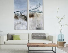 "Blue Water Paintings on Canvas 72H X 60""W Diptych-2 piece (2x72x30)  Aquatic"