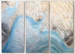 "Coastal Beach Mixed Media Paintings Canvas 72H X 90""W Triptych-3 piece (3x72x30)"